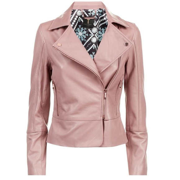 stylish design entire collection new selection Ted Baker Leather Lizia Biker Jacket - Coral